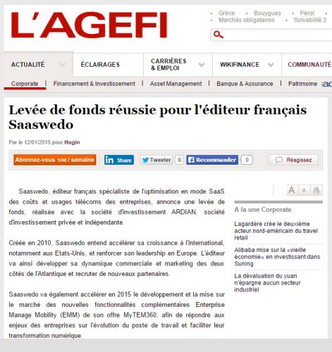 Saaswedo article AGEFI 2